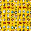 Cartoon hand draw web icons seamless pattern with yellow background — Imagen vectorial