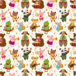 Royalty-Free Stock Vector Image: Cartoon animal play music seamless pattern