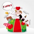 Vettoriale Stock : Cartoon wedding card