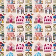 Cartoon house  shop seamless pattern - Stock Vector