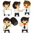 4 funny cartoon office worker set ,icons — Stock Vector