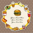 Stock Vector: Cartoon fast-food card