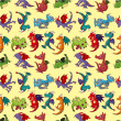 Cartoon fire dragon seamless pattern — 图库矢量图片