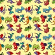 Cartoon fire dragon seamless pattern — ストックベクタ