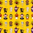 Cartoon Halloween holiday monster seamless pattern — Imagen vectorial