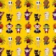 dibujos animados de halloween fiesta monstruo de patrones sin fisuras — Vector de stock
