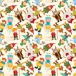 Cartoon story seamless pattern - Stock Vector