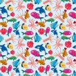 Cartoon fish seamless pattern — Stock Vector