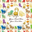 Cartoon chair furniture card — Stock Vector