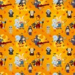 Stok Vektör: Cartoon Halloween seamless pattern