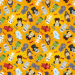 Cartoon Halloween holiday monster seamless pattern - Stok Vektr