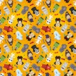 Cartoon Halloween holiday monster seamless pattern - Image vectorielle
