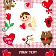 Cartoon love card - Stock Vector