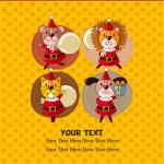 Cartoon animal Santa Claus,xmas card — Stock Vector #7864890