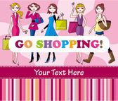 Woman shopping card — Stock Vector
