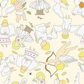 Seamless angel pattern — Stock Vector