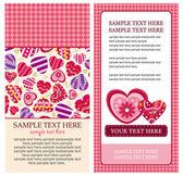 バレンタインの心のカード — ストックベクタ