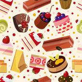 Seamless cake pattern — Stock Vector