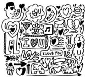Hand draw love element hand draw love element — Stok Vektör
