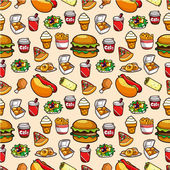 Seamless fast food pattern seamless fast food pattern — Stock Vector