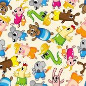 Seamless summer animal pattern — Stock Vector