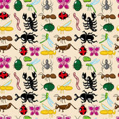 Seamless insect pattern — Stock Vector