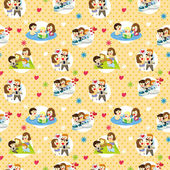 Seamless sweet family pattern — Stock Vector