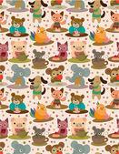 Seamless animal tea time pattern — Stock Vector