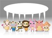 Cartoon monster animal card — Stock Vector