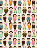 Seamless cartoon family pattern — Stock Vector