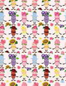 Cartoon flower fairy seamless pattern — Stock Vector