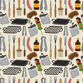 Cartoon barbeque party tool seamless pattern — Stock Vector