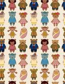 Cartoon bear family icon set seamless pattern — Stock Vector