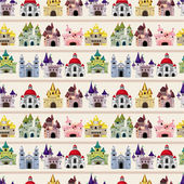 Cartoon Fairy tale castle seamless pattern — Vecteur