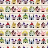 Modèle sans couture château conte de fées de dessin animé — Vecteur