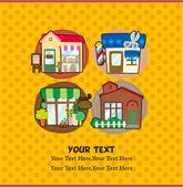 Cartoon house shop card — Stock Vector