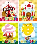 Cartoon playground card — Stock Vector
