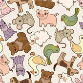 Seamless cartoon animal pattern — Stock Vector