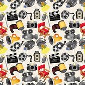 Cartoon movie equipment seamless pattern — Stock Vector