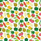 Cartoon Fruits and Vegetables seamless pattern — Vecteur