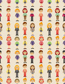 Cartoon pretty office woman worker seamless pattern — Stockvektor