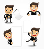 Set of funny cartoon office worker icon — Stock Vector