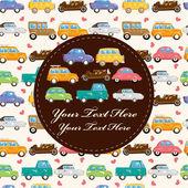 Cartoon retro car card — Stock Vector