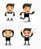 Set of funny cartoon office worker with email icon — Stockvektor
