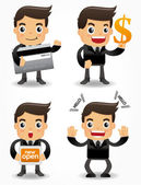 Funny cartoon office worker with sale Promotions icon set — Cтоковый вектор