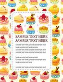 Cartoon cake card — Stock Vector