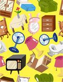 Cartoon home furnitur seamless pattern — Vector de stock