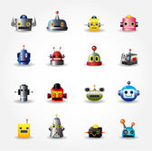 Dibujos animados robot cara icon, icono web set - vector — Vector de stock