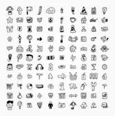100 hand draw web icon — Stock Vector