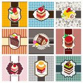 9 cartoon cake card set — 图库矢量图片